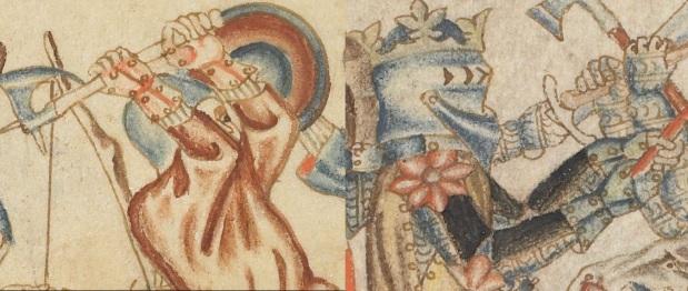 Holkham bible 40r - Forsterkede hansker