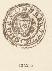 Audun Hugleikssons segl, en fembladet rose omkranset av bord med inn- og utadrettede liljer. Det er også bevart et baronsegl med samme våpen avbildet på ridder til hest.