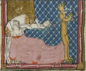 Illustrasjon av seng med pussig beinkonstellasjon. Matfré Ermengau , Breviari d'amor et Lettre à sa soeur, 1300-tallet. 197v. Bibliothèque nationale de France, Département des manuscrits, Français 857.