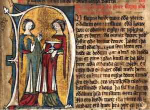 Hardenbergs codex fol 32r (overskjortler med splitt, damer)