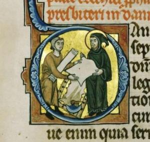 Pergamentmaker selger varene sine. Hamburgbibelen ca 1255, København.