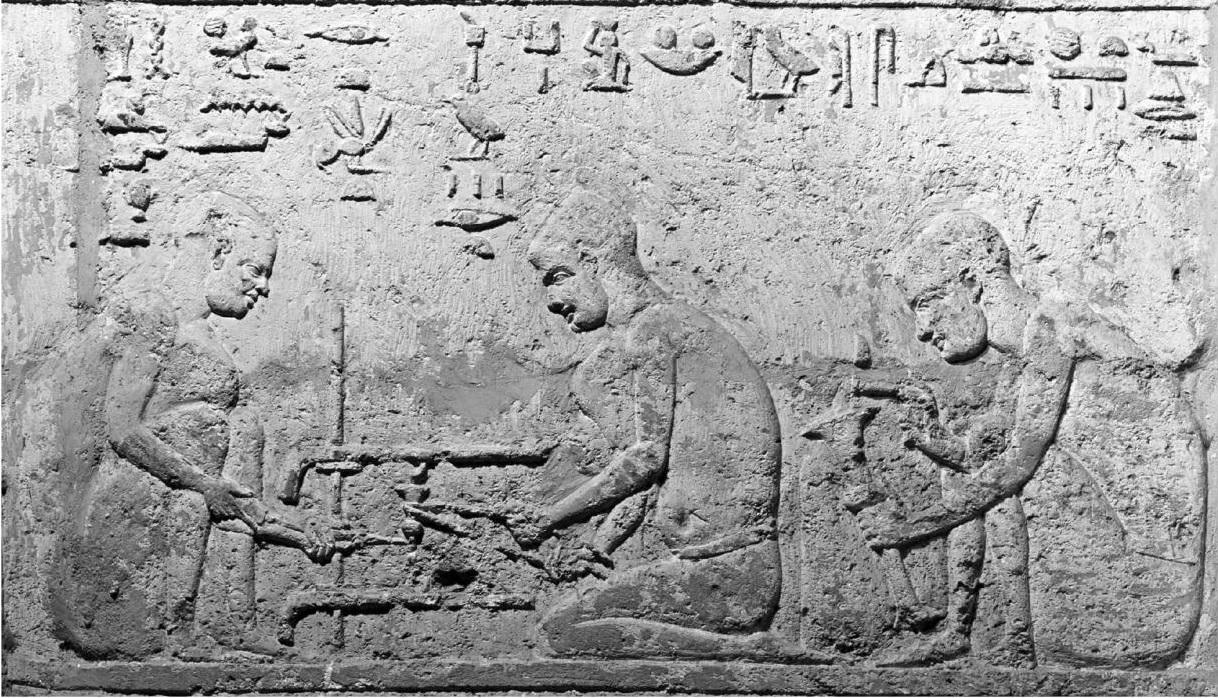 Strap lathe Egypt ca 300 BC. Petosiris tomb. photo